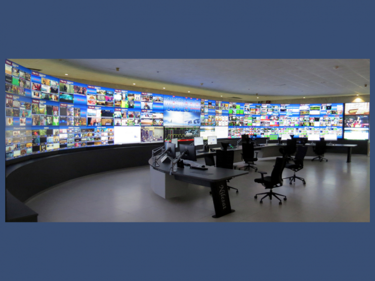 Photo shows the presentation control suite at Nilesat's Cairo headquarters.
