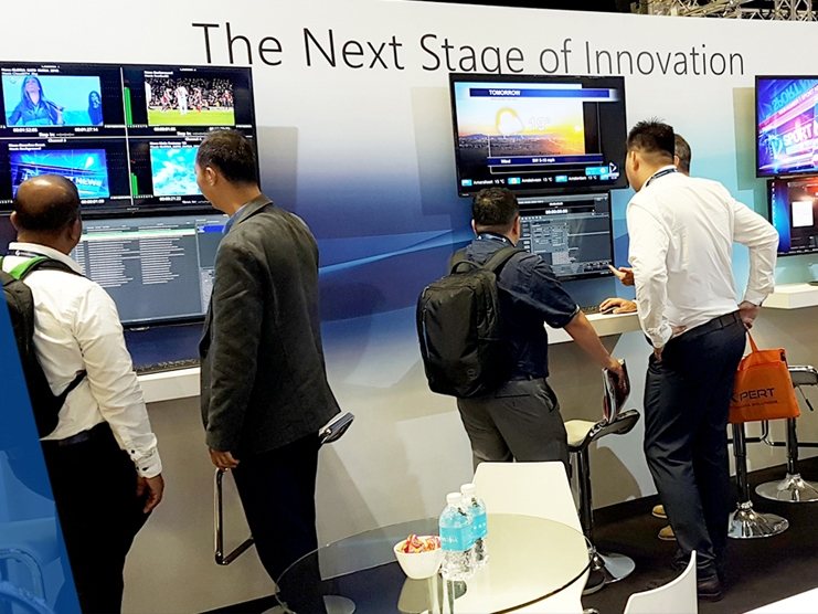 Accompany image shows part of the PlayBox Neo exhibit at Broadcast Asia 2019.