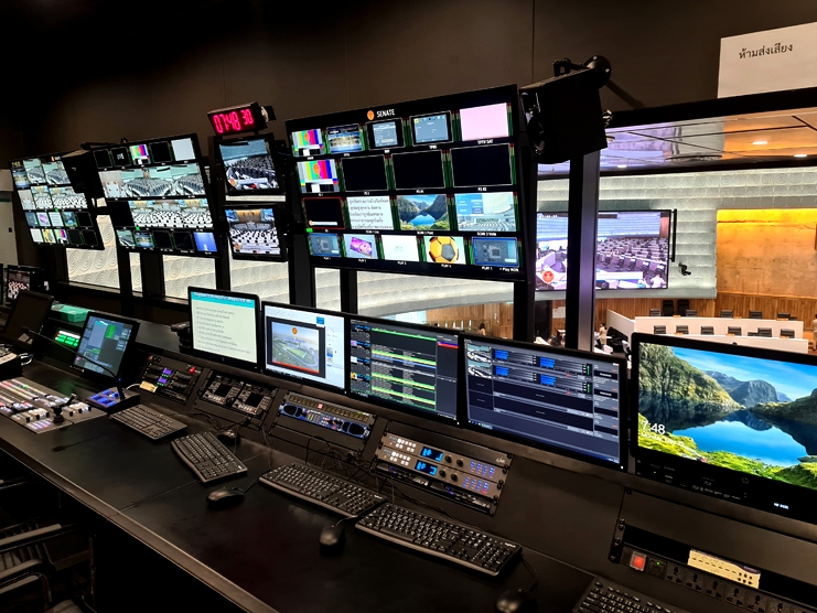 The production and playout control facility at the National Assembly of Thailand in Bangkok.