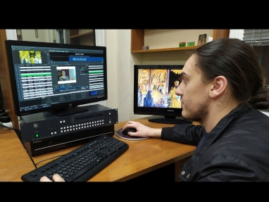 Playout desk at Plovdiv Orthodox TV showing PlayBox Neo graphic interface